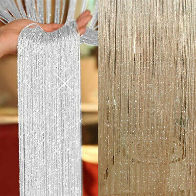 £5.42 • Buy Glitter String Curtain Panels Door Fly Screen Room Divider Voile Net Curtains