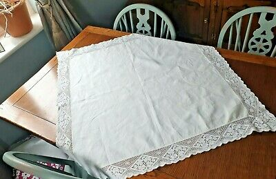 Vintage Cotton Square Table Cloth Edged With Lace  • 10£