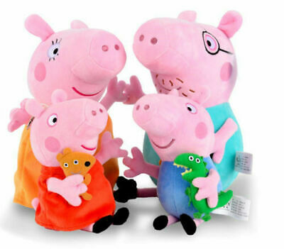 4PCS Peppa Pig Characters Soft Toys Daddy Mummy Peppa George Pig Stuffed Gifts • 11.95£