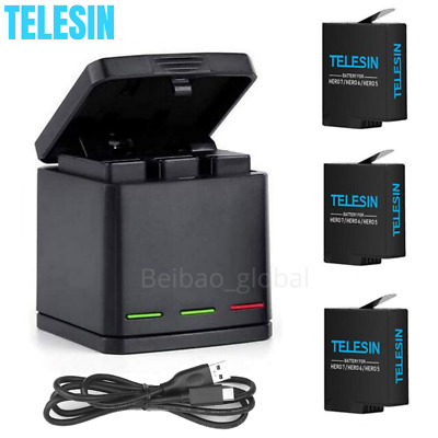 AU26.66 • Buy TELESIN GoPro Dual Battery + 3 Slot Charger Charging Box For Hero 8 7 6 5 Black