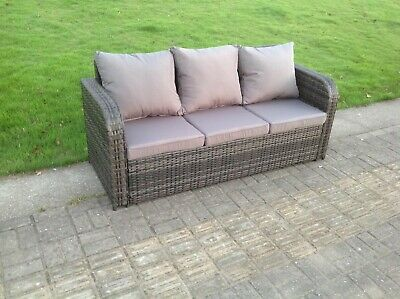 £379 • Buy High Back 3 Seater Rattan Sofa Patio Outdoor Garden Furniture With Cushion