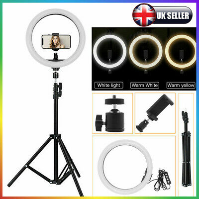 10'' Dimmable LED Ring Video Photo Lighting Lamp+1.2m Tripod+Phone Holder Kit UK • 24.97£