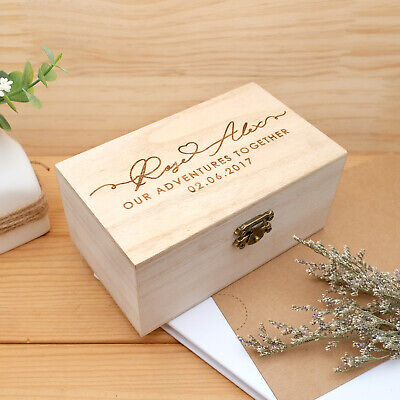 Personalized Keepsake Box Wooden Memory Box Couple Photo Chest Adventures Gifts • 15.99£