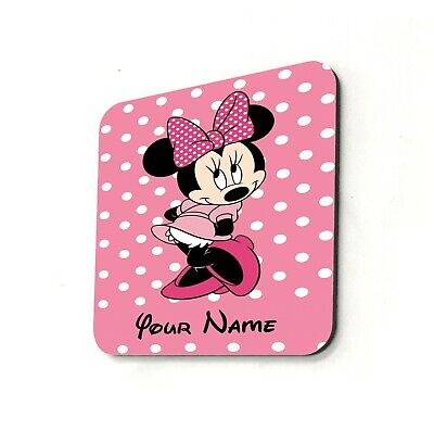 Pink Bow Minnie Mouse Disney Personalised Cup Coaster Gift Present Custom Name • 2.99£