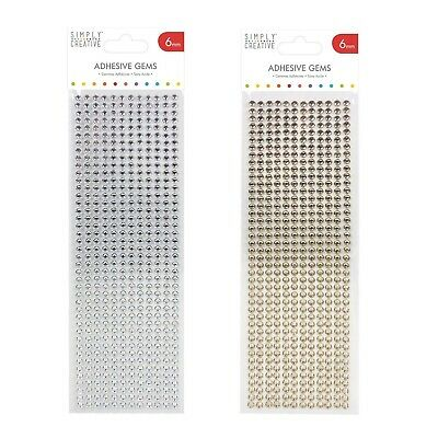 6mm Silver Or Gold Diamante Adhesive Gem Stickers Pack Of 504 - Christmas Craft • 3.25£