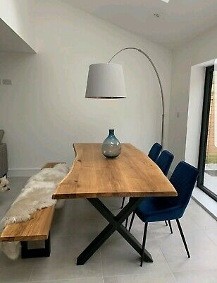 Solid Wood Oak Dining Table Live Edge Rustic Metal Legs MADE TO ORDER  • 50£
