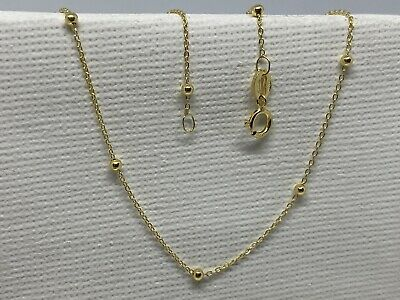 £49 • Buy Solid Genuine 9ct Yellow Gold Woman Trace Bead Chain Necklace All Size
