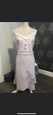 New Debenhams John Rocha Pink Linen Dress Size 14 • 10£
