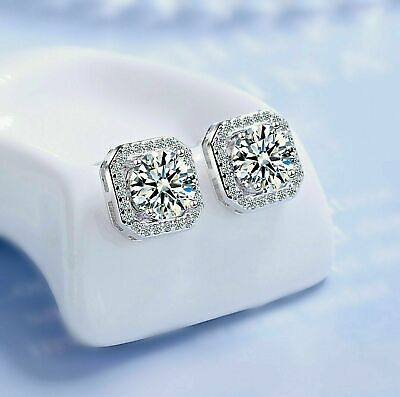 Crystal Square Stone Stud Earrings 925 Sterling Silver Womens Jewellery Gift New • 3.34£