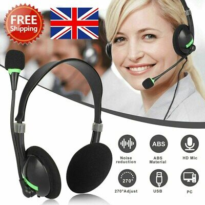 Headphones With Microphone USB Noise Cancelling Headset For Skype Laptop NEW • 6.66£