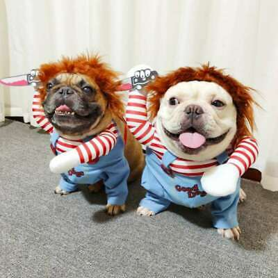 Dogs Pets Halloween Costume Party Chucky Cosplay Poppy Fancy Dress Jumpsuits UK • 11.69£