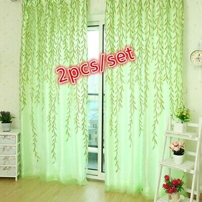 £7.73 • Buy 2Pcs Willow Leaf Curtains Sheer Voile Curtains Panel Living Room Balcony Decor