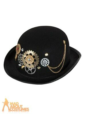£8.49 • Buy Steampunk Bowler Hat Victorian Mens Ladies Adults Fancy Dress Costume Accessory