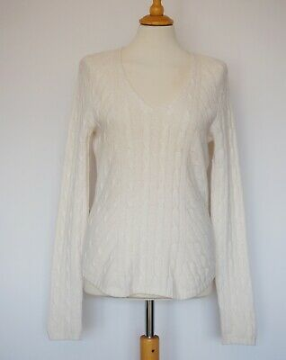 N. Peal Luxury 100% Cashmere Cuper Soft Cream V Neck Jumper Sweater, Size: M • 74.90£