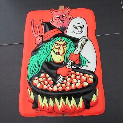$ CDN69.20 • Buy EMPIRE VTG! 80s Vacuform Plastic Halloween 3D Wall Decoration Witch/Devil/Ghost