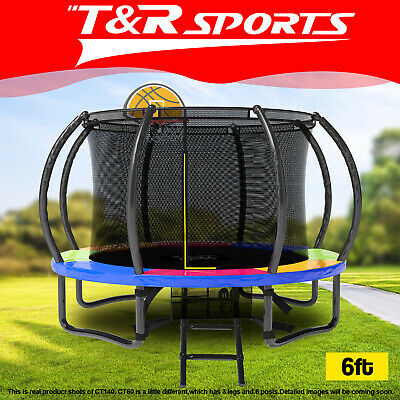 AU259.99 • Buy Pop Master 6FT Curved Trampoline W/ Basketball Hoop Ladder Kids Children Outdoor