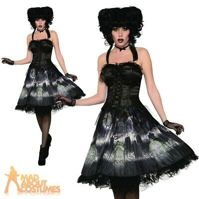 Adult Ladies Cemetery Doll Dress Graveyard Ghost Fancy Dress Halloween Outfit • 23.99£