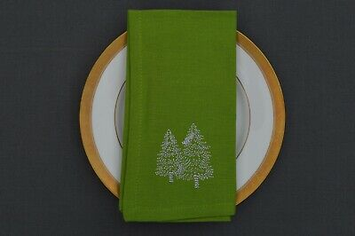 £9.99 • Buy NAPKINS, 100% Cotton Green With Silver Embroidered Christmas Trees Pack Of 4