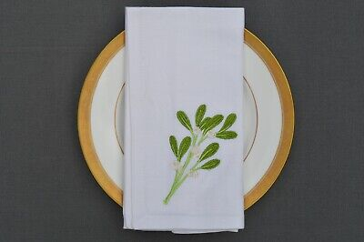 £9.99 • Buy CHRISTMAS NAPKINS, 100% Cotton White With Embroidered Mistletoe Sprig, Pack Of 4