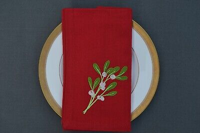 £9.99 • Buy CHRISTMAS NAPKINS, 100% Cotton Red With Embroidered Mistletoe Sprig, Pack Of 4