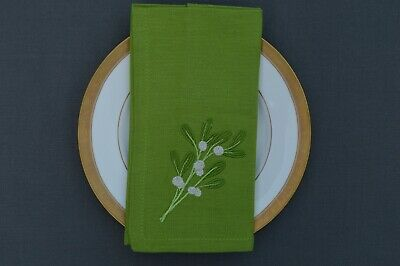£9.99 • Buy CHRISTMAS NAPKINS, 100% Cotton Green With Embroidered Mistletoe Sprig, Pack Of 4