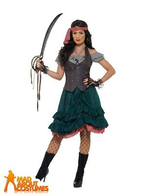 Deluxe Pirate Wench Costume Ruffled Dress Ladies Buccaneer Fancy Dress Outfit  • 27.99£