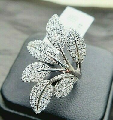 Ladies Sterling Silver 925 Simulated Diamond Crossover Leaf Stone Ring Size M • 18.95£