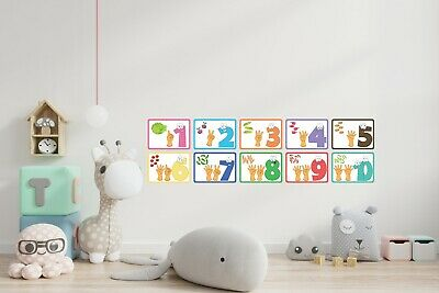 £5.84 • Buy Numbers 1 To 10 Wall Stickers Nursery Bedroom Child Boy Girl Learning Colourful