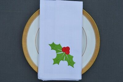 £9.99 • Buy CHRISTMAS NAPKINS, 100% Cotton White With Embroidered Holly Motif, Pack Of 4