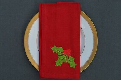 £9.99 • Buy CHRISTMAS NAPKINS, 100% Cotton Red With Embroidered Holly Motif, Pack Of 4