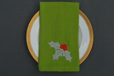 £9.99 • Buy CHRISTMAS NAPKINS, 100% Cotton Green With Embroidered Holly Motif, Pack Of 4