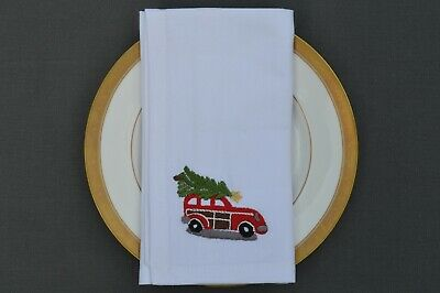 £9.99 • Buy CHRISTMAS NAPKINS, 100% Cotton White With Embroidered Car And Tree, Pack Of 4