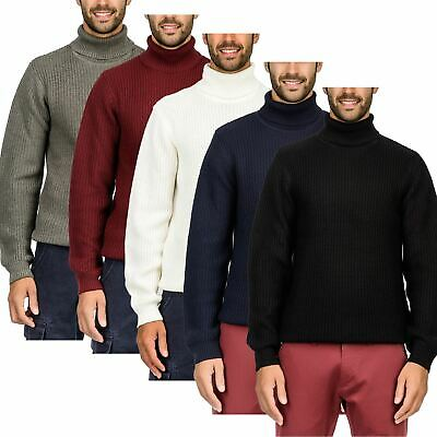 Mens Roll Turtle Polo Funnel Neck Jumper Weave Twist Knitted Sweater Top Warm • 10.99£