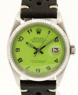 $ CDN5992.91 • Buy Men Vintage ROLEX Oyster Perpetual Datejust 36mm Green Arabic Dial  Watch