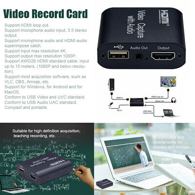 Video Record Card HDMI Loop Output With Audio 4K Stereo Input Portable HD 1080P • 13.09£