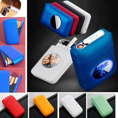Cigarette Case Box Tobacco Box Holder PU Leather Electric USB Lighter Windproof • 6.99£