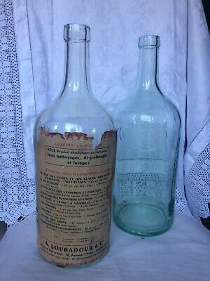 Antique Ex Large French Glass Bottles Apothecary Chemist Bottles X 2 Pair • 14.99£