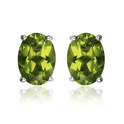 1.78 Ct Genuine Oval Green Peridot 925 Sterling Silver Stud Earrings UK Seller • 11.49£