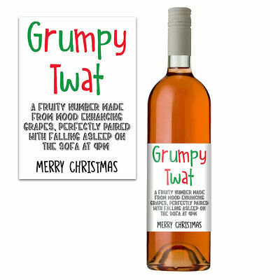 Funny Christmas Wine Bottle Label Xmas Gift Idea For Him Men Perfect Husband Dad • 2.99£