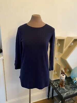 N Peal Beautiful Quality 70/30 Cashmere Silk Long Sweater Small 🌟Midnight Blue • 22.99£