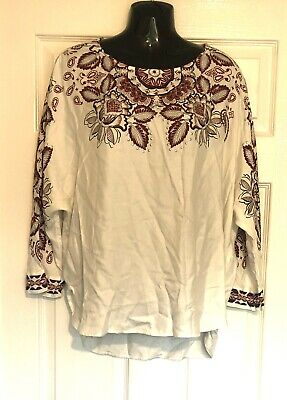 DESIGUAL Ladies Cream Pink Jewelled Blouse Long Sleeve Smart Casual Top BNWT • 5£