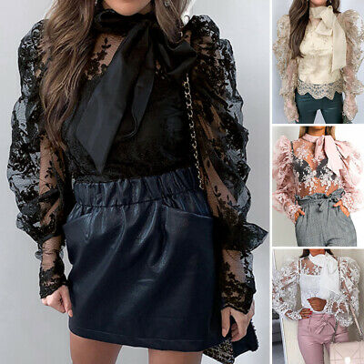 £9.11 • Buy Womens Bow Tie Puff Sleeve Lace Patchwork Shirts Cocktail Party Club Tops Blouse
