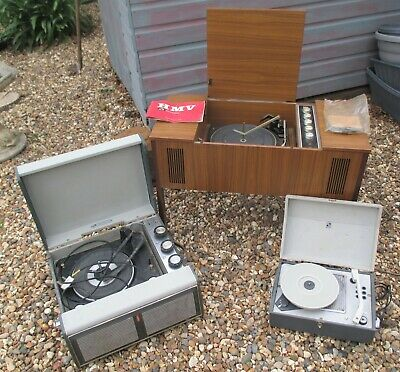 VINTAGE RECORD PLAYERS X 3, BUSH SRP41, PORTADYNE, HMV 2417, MONARCH, GARRARD. • 20£