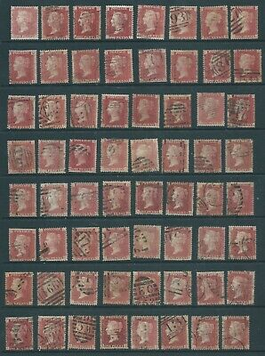 Queen Victoria Stamps Collection Of Penny Red Plates X 64 As Per Scans R6283 • 18£