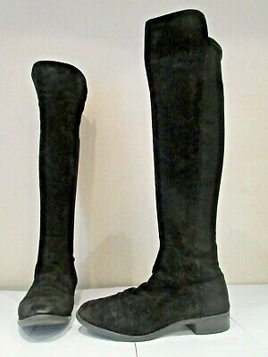 Clarks Caddy Belle Black Suede Stretch Over Knee Pull On Boots Uk 6.5 (3575) • 25£