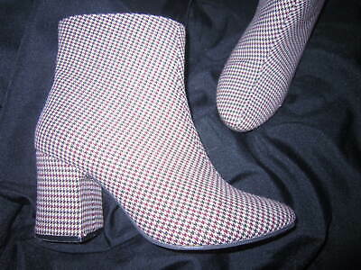 M&S Insolia Go Go Girl 60s Vintage Mod Style Check Ankle Boots Red Brown 5.5 38 • 14.99£