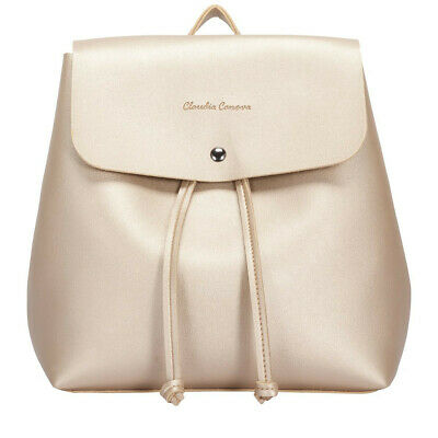 Gold Backpack By Claudia Canova  Leather Shoulder Bag Rusksack  • 14.99£