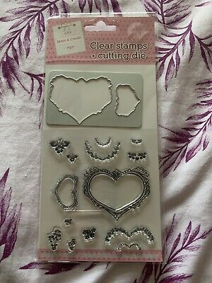 RARE - Hearts And Flowers - Clear Stamps And Matching Metal Cutting Dies Set • 1.99£
