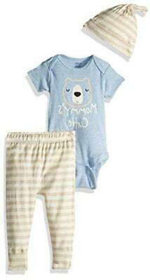 Gerber Baby Boys 3-Piece Organic Onesies Bodysuit, Pant And, Bear Hugs, Size • 13.99£