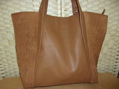 River Island Tan Leather And Suede Shopper/tote Bag. • 16£